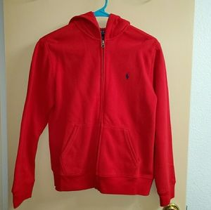 ❌SOLD❌ Boys Polo Ralph Lauren Red Zip Up Hoodie Lg